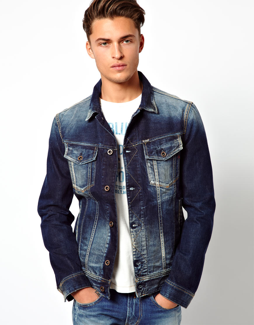 lyst replay denim jacket mid blue in blue for men