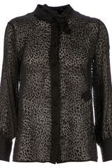 Saint Laurent Leopard Print Blouse - Lyst