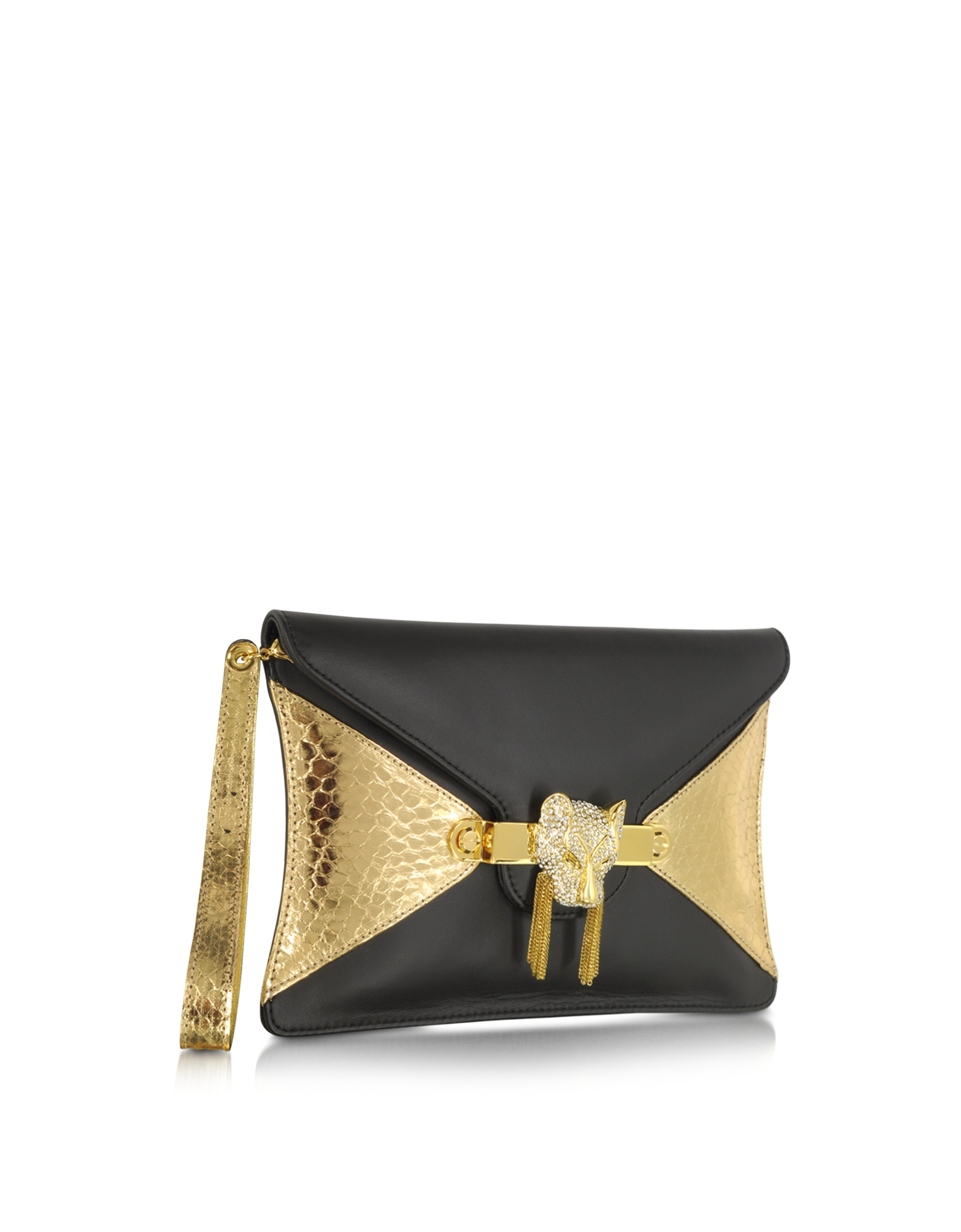 0ed78db06d Thale Blanc Toni Nappa Leather and Golden Python Clutch in Metallic ...