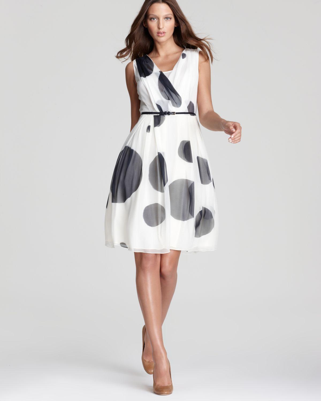 max mara studio digione polka dot printed dress in white. Black Bedroom Furniture Sets. Home Design Ideas