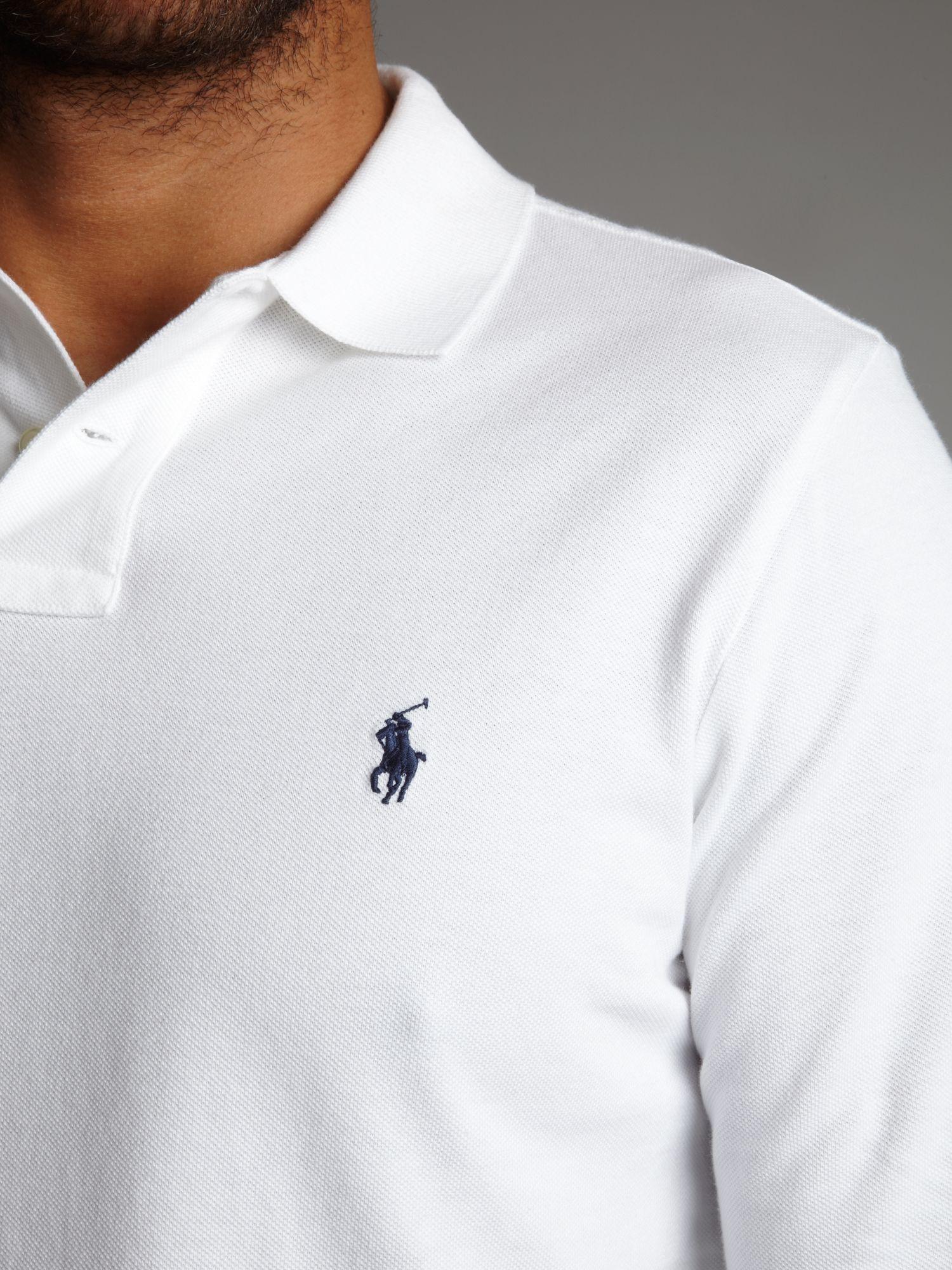 Polo ralph lauren long sleeve polo shirt in white for men for Long sleeve fitted polo shirts