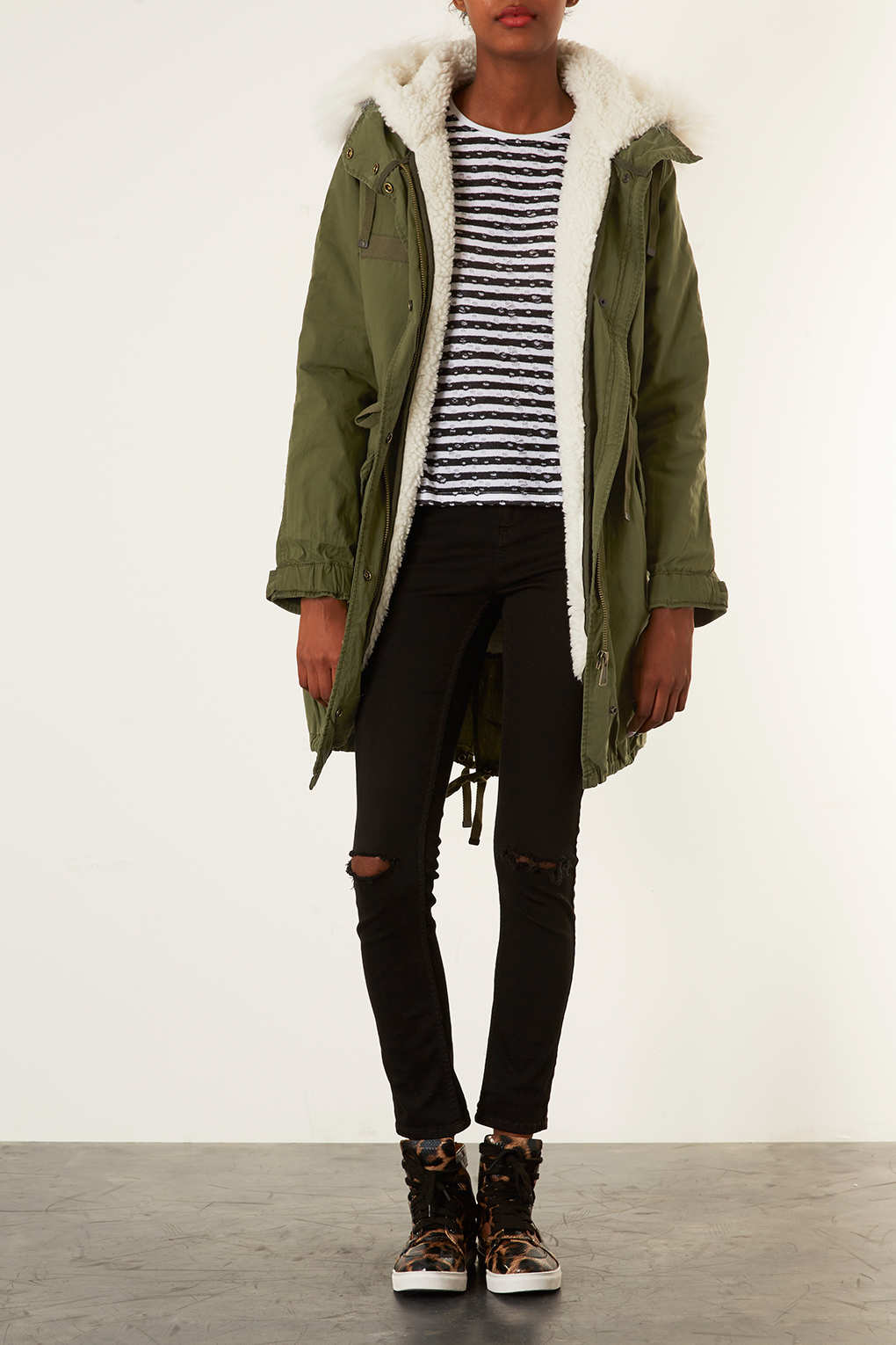 Topshop Borg Lined Parka Jacket in Natural | Lyst