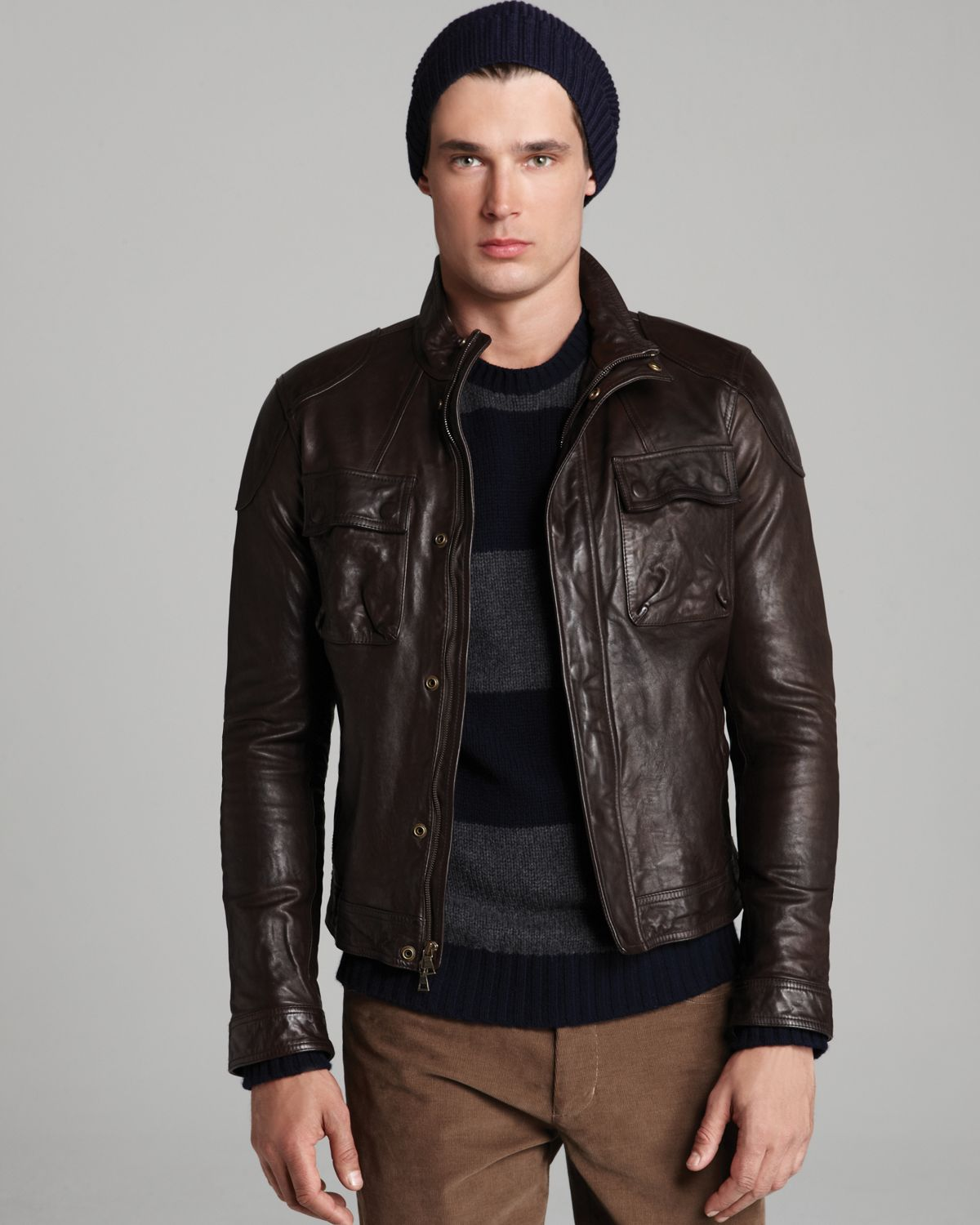 Vince Leather Moto Jacket in Brown for Men | Lyst