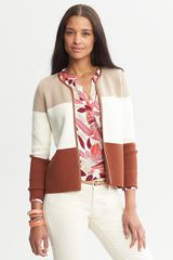 Banana Republic Piped Colorblock Sweater Jacket - Lyst