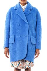 Carven Double Breasted Cocoon Coat - Lyst