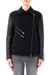 DKNY Quilted Leather Sleeve Moto Jacket - Lyst