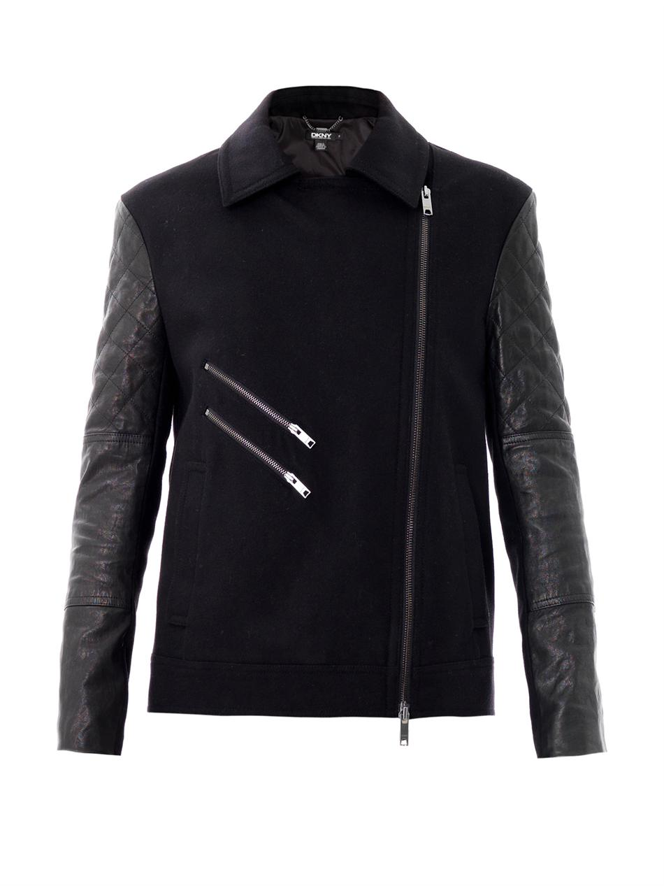 Dkny Quilted Leather Sleeve Moto Jacket In Black Lyst