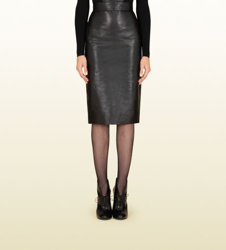gucci black shiny leather high waist skirt in black lyst