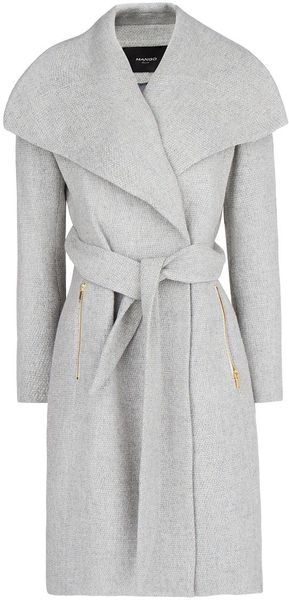 Mango Maxi Flap Flecked Coat - Lyst