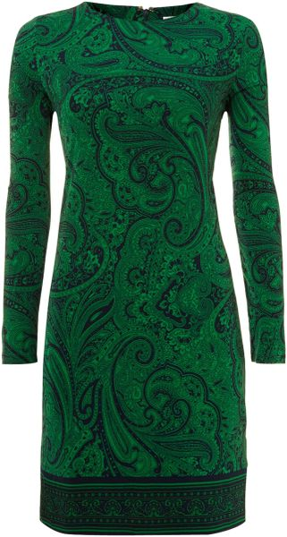 Michael by Michael Kors Long Sleeve Printed Shift Dress - Lyst