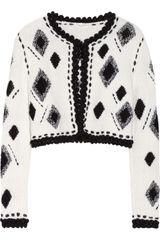 Oscar de la Renta Cropped Knitted Wool and Silkblend Cardigan - Lyst