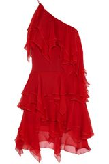 Saint Laurent Ruffled Silkchiffon Dress - Lyst