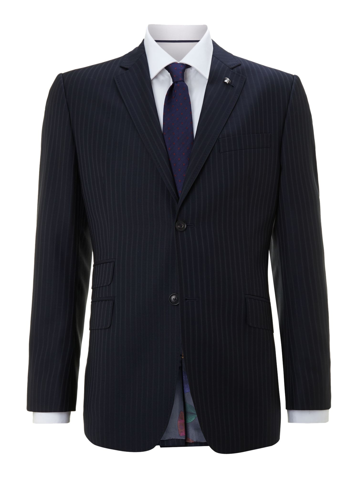 Ted Baker Purple Pinstripe Suit Jacket In Blue For Men