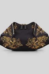 Alexander McQueen Demanta Embroidered Clutch Bag Black - Lyst