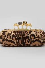 Alexander McQueen Leopardprint Calf Hair Knuckleduster Box Clutch Bag - Lyst