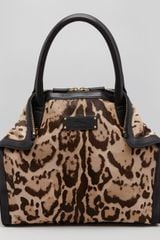 Alexander McQueen Demanta Mini Leopardprint Calf Hair Tote Bag - Lyst