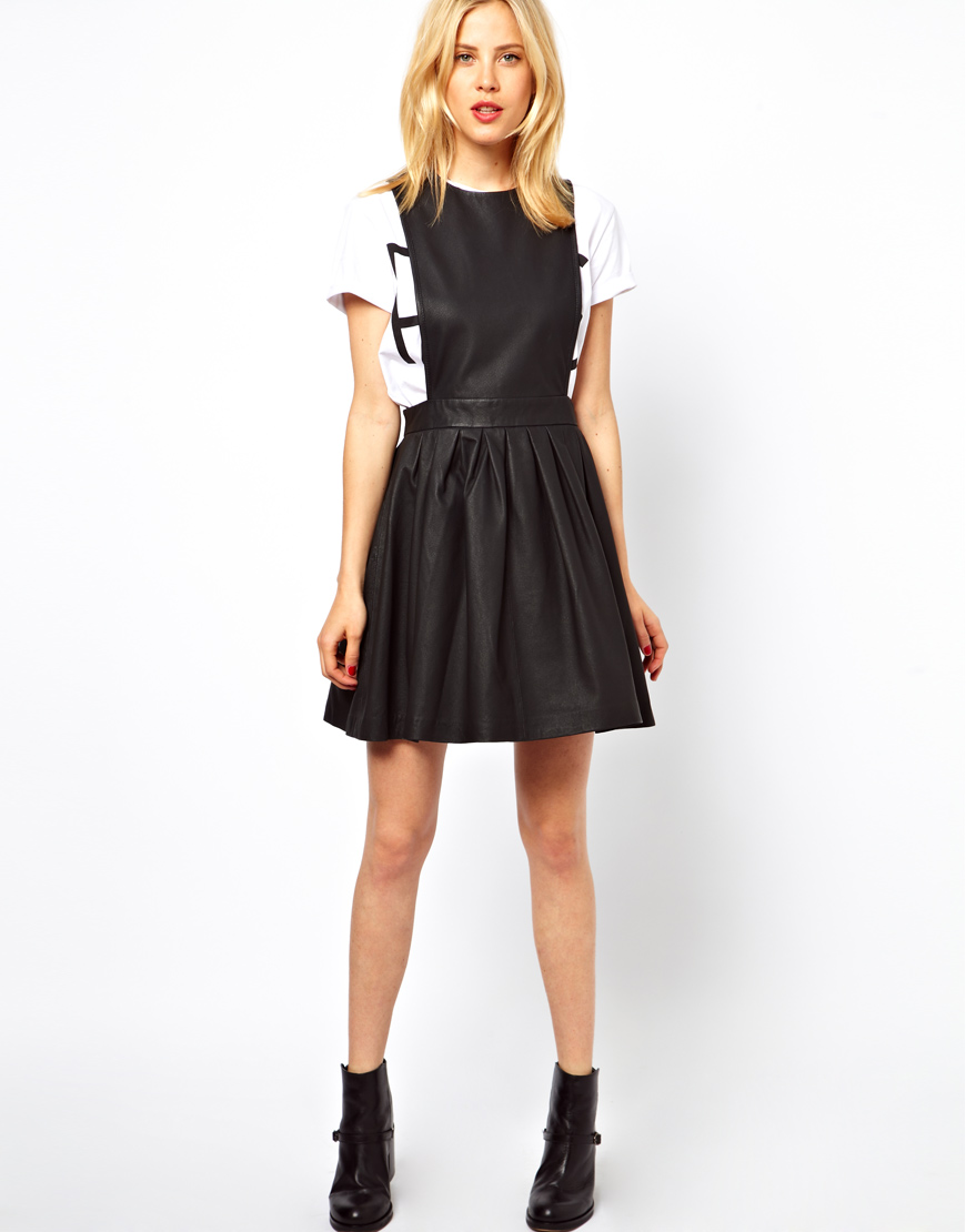 Asos Leather Pinafore Skater Dress in Black