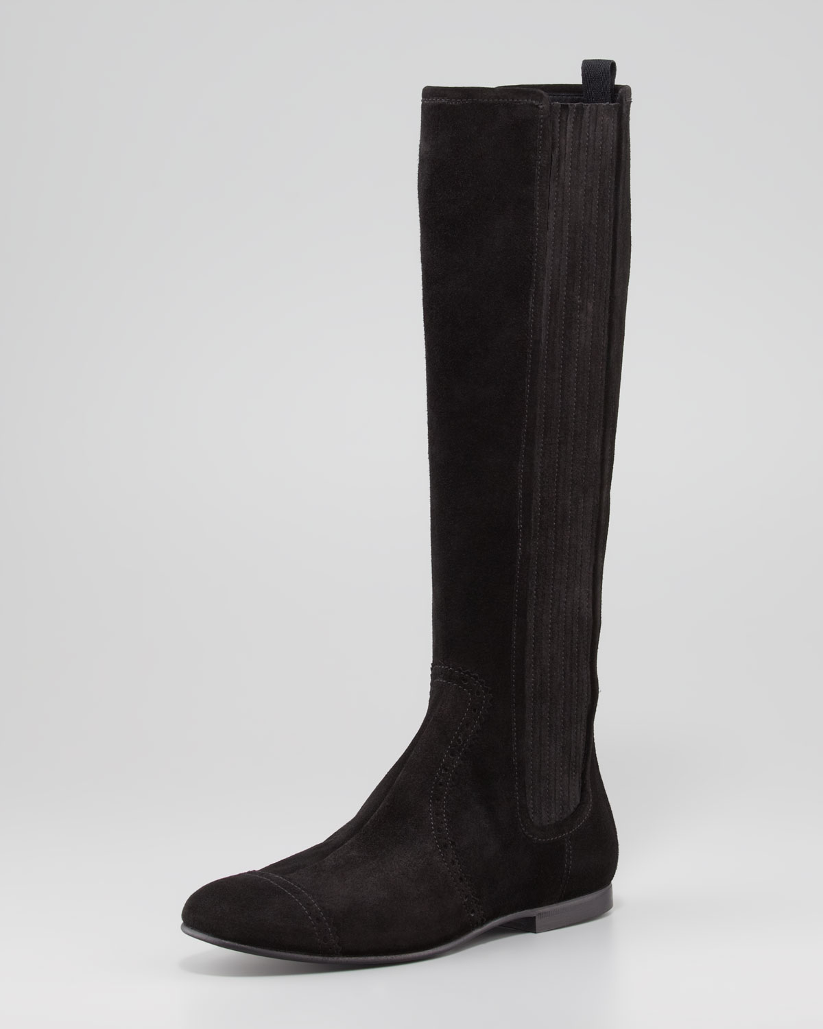 Balenciaga Arena Suede Flat Knee Boot in Black | Lyst