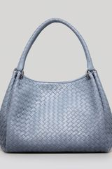 Bottega Veneta Medium Woven Double-strap Tote Bag Blue - Lyst