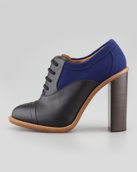 Chlou00e9 Stacked Heel Laceup Oxford Blackblue In Black (BLACK/BLUE) | Lyst