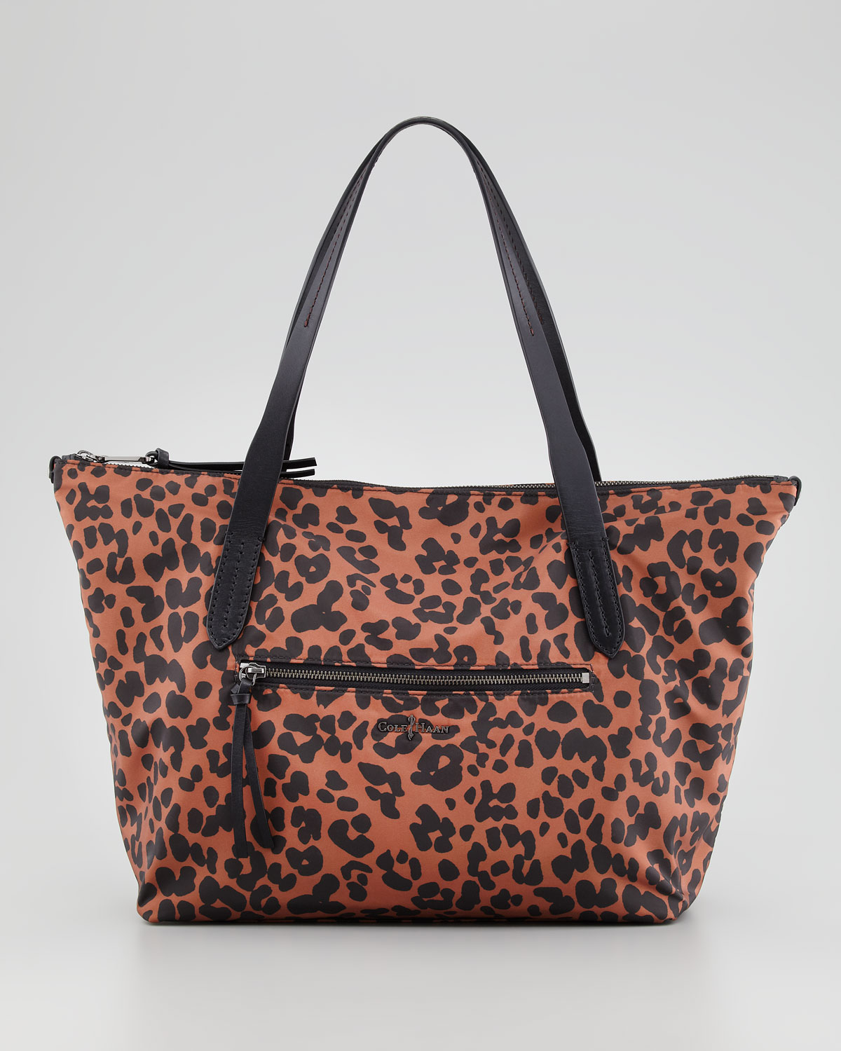 cole haan ziptop shopper tote bag leopard