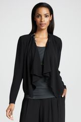 Eileen Fisher Drapedfront Silk Jacket - Lyst