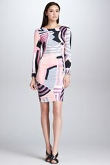Emilio Pucci Long-sleeve Side-ruched Print Dress Pink/black/ivory - Lyst