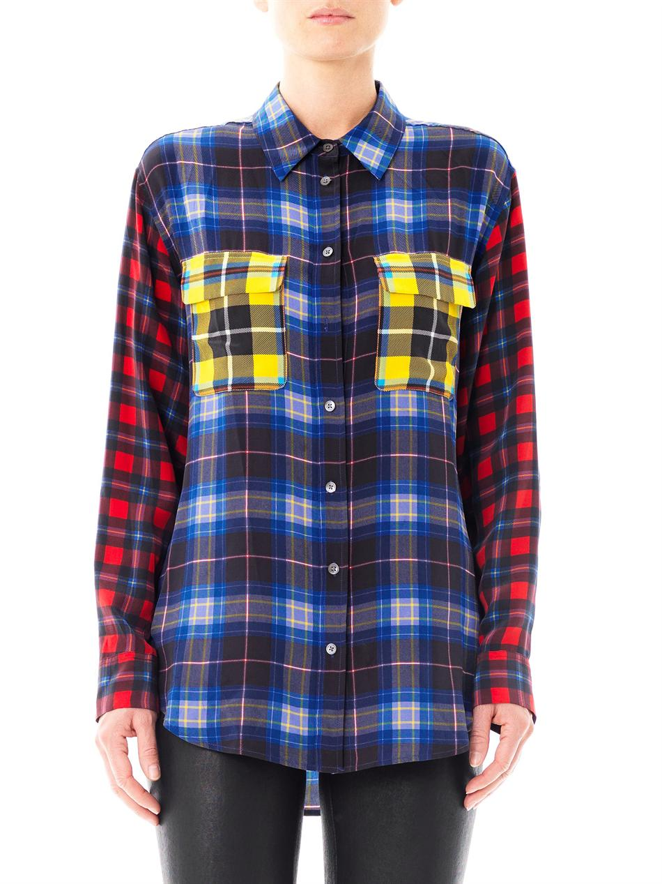 equipment multi plaid signature silk shirt lyst