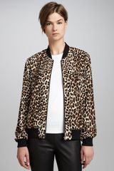 Equipment Abbot Leopardprint Bomber Jacket - Lyst