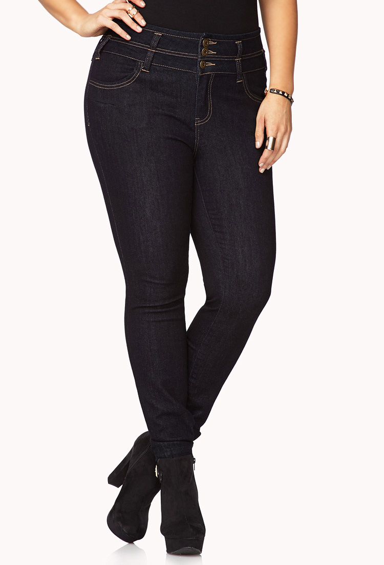 Forever 21 Classic High Waisted Skinny Jeans In Blue Dark