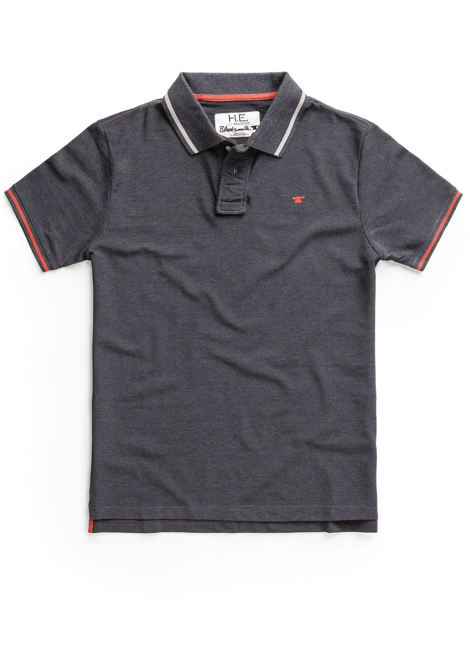 He By Mango Polo Shirt Ashford In Gray For Men Dark Grey
