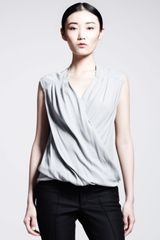 Helmut Lang Draped Crossover-front Top - Lyst