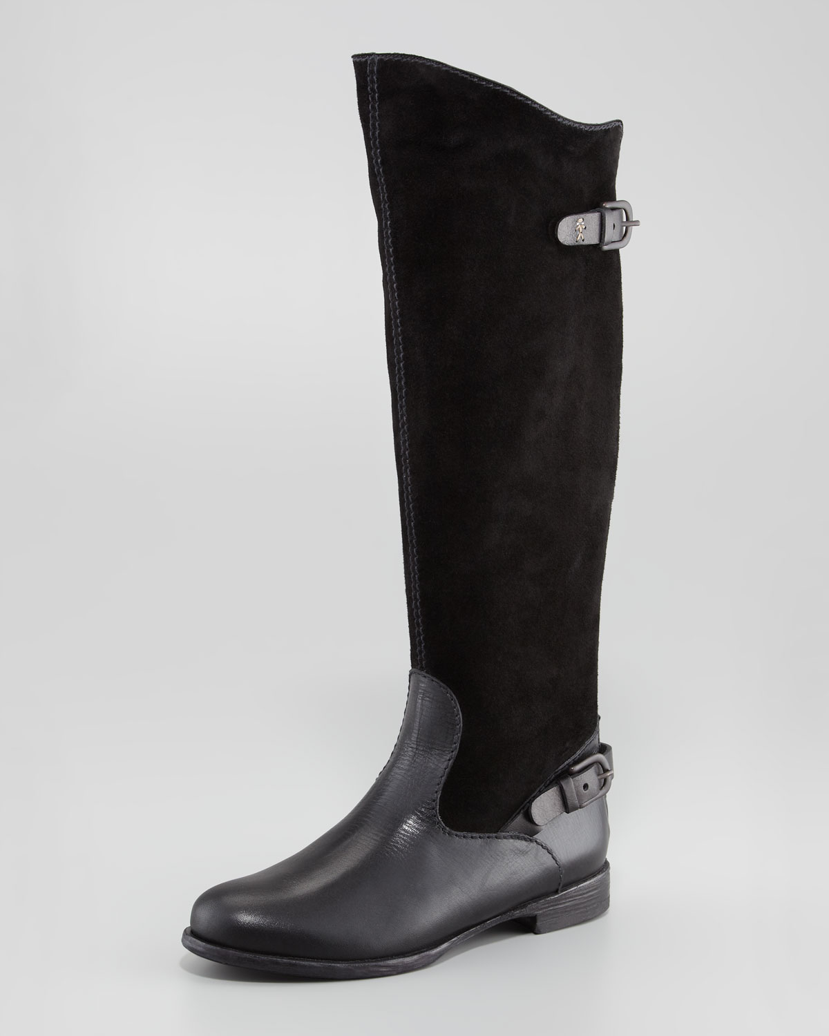 283315ce4b36e Lyst - Henry Beguelin Suedeleather Flat Knee Boot Black in Black