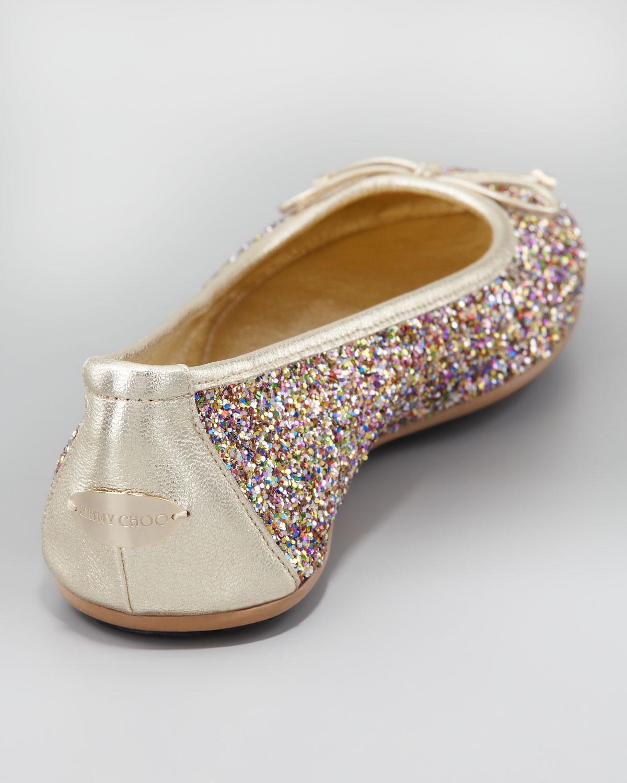 41d6e371618 Lyst - Jimmy Choo Walsh Glitter Ballerina Flat in Metallic