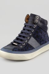 Jimmy Choo Belgravia Leopardprint Hightop Sneaker - Lyst