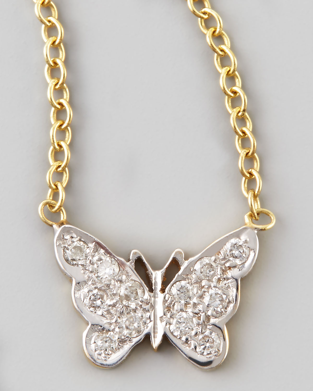 Lyst Kacey K Mini Diamond Butterfly Necklace in Metallic