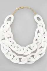 Kenneth Jay Lane Doublestrand Enamel Link Necklace White - Lyst