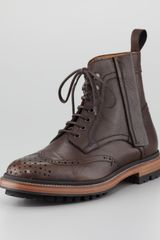 Lanvin Leather Brogue Combat Boot - Lyst