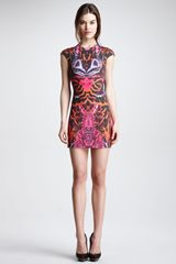 McQ by Alexander McQueen Kaleidoscope print Cap-sleeve Sheath Dress Terracotta-pink - Lyst