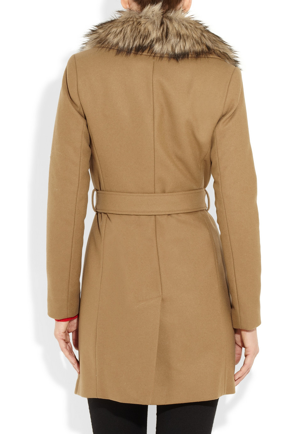 Michael Michael Kors Faux Fur And Wool Blend Coat In
