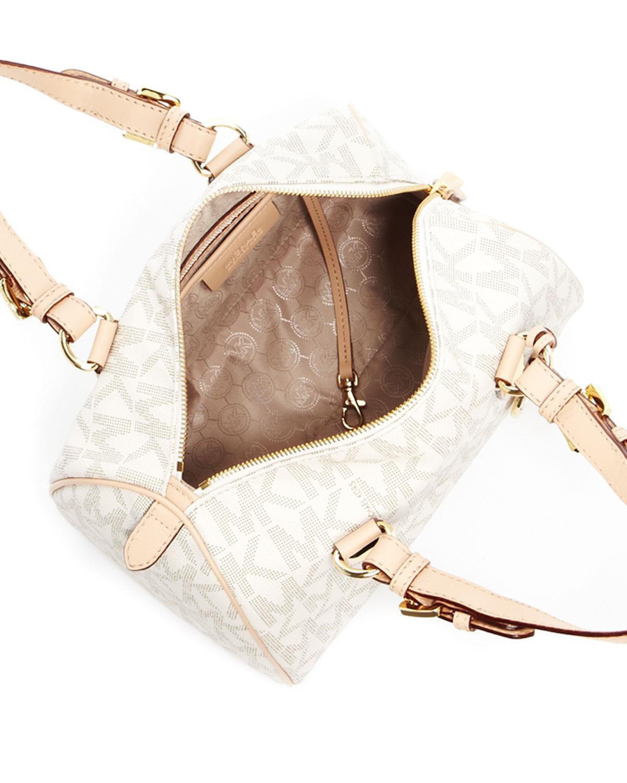 2a34c7a5512a Previously sold at Neiman Marcus · Womens Michael Kors Grayson Michael Kors  MK Signature Brown PVC Small Satchel Handbag ...