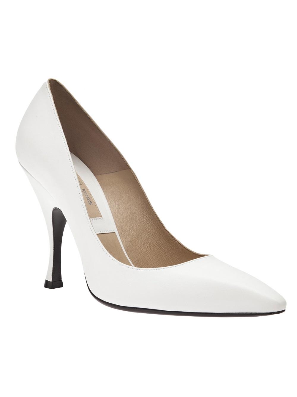lyst michael kors curved heel pump in white. Black Bedroom Furniture Sets. Home Design Ideas