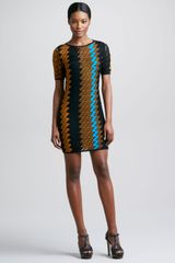 Missoni Short-sleeve Zigzag Knit Dress Mustard/turquoise - Lyst