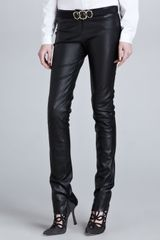 Oscar de la Renta Low-rise Skinny Leather Pants Black - Lyst