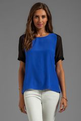 Parker Gigi Combo Sheer Top in Blue - Lyst