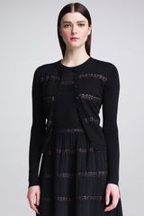 RED Valentino Laceribbon Merino Wool Cardigan Black - Lyst