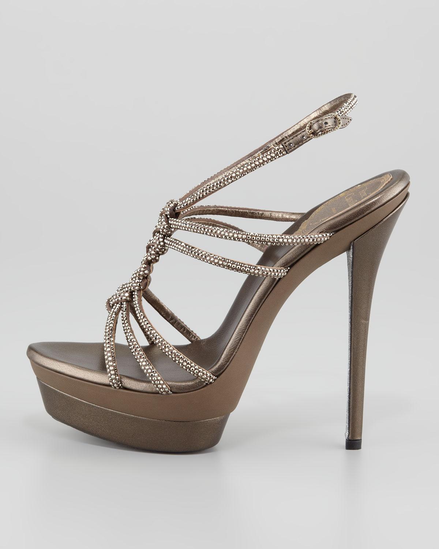 9b7958b521f7 Lyst - Rene Caovilla Twisted Crystal Platform Sandals Light Golden ...