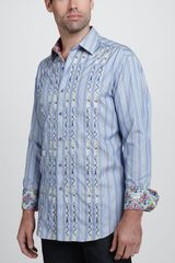 Robert Graham Spring Tide Longsleeve Sport Shirt Light Blue - Lyst