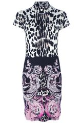 Roberto Cavalli Printed Fitted Dress - Lyst