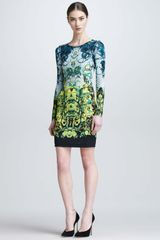 Roberto Cavalli Longsleeve Baroque Print Short Dress - Lyst